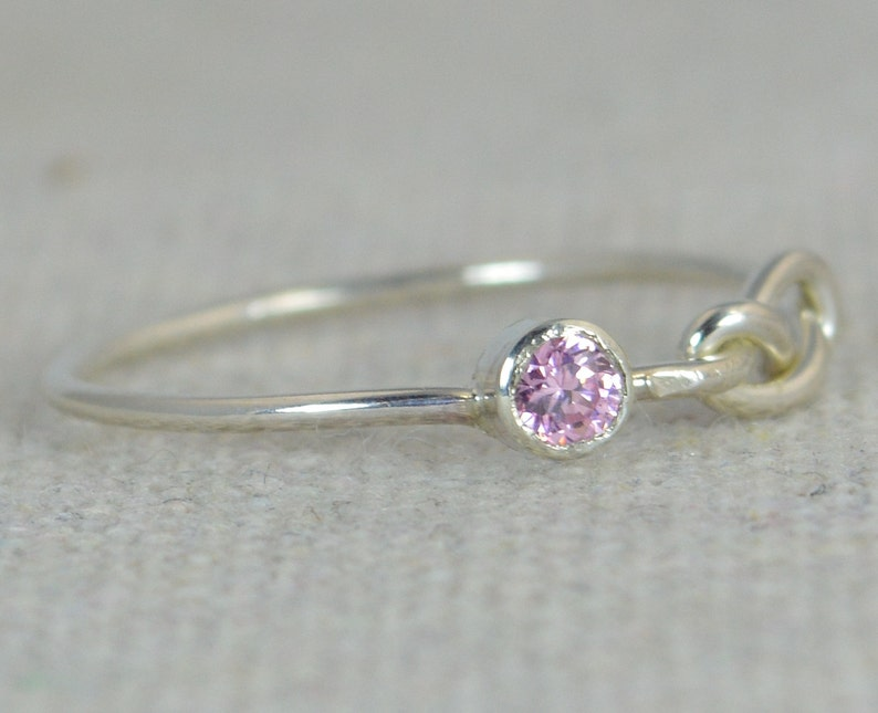 Pink Tourmaline Infinity Ring Sterling Silver Stackable image 0
