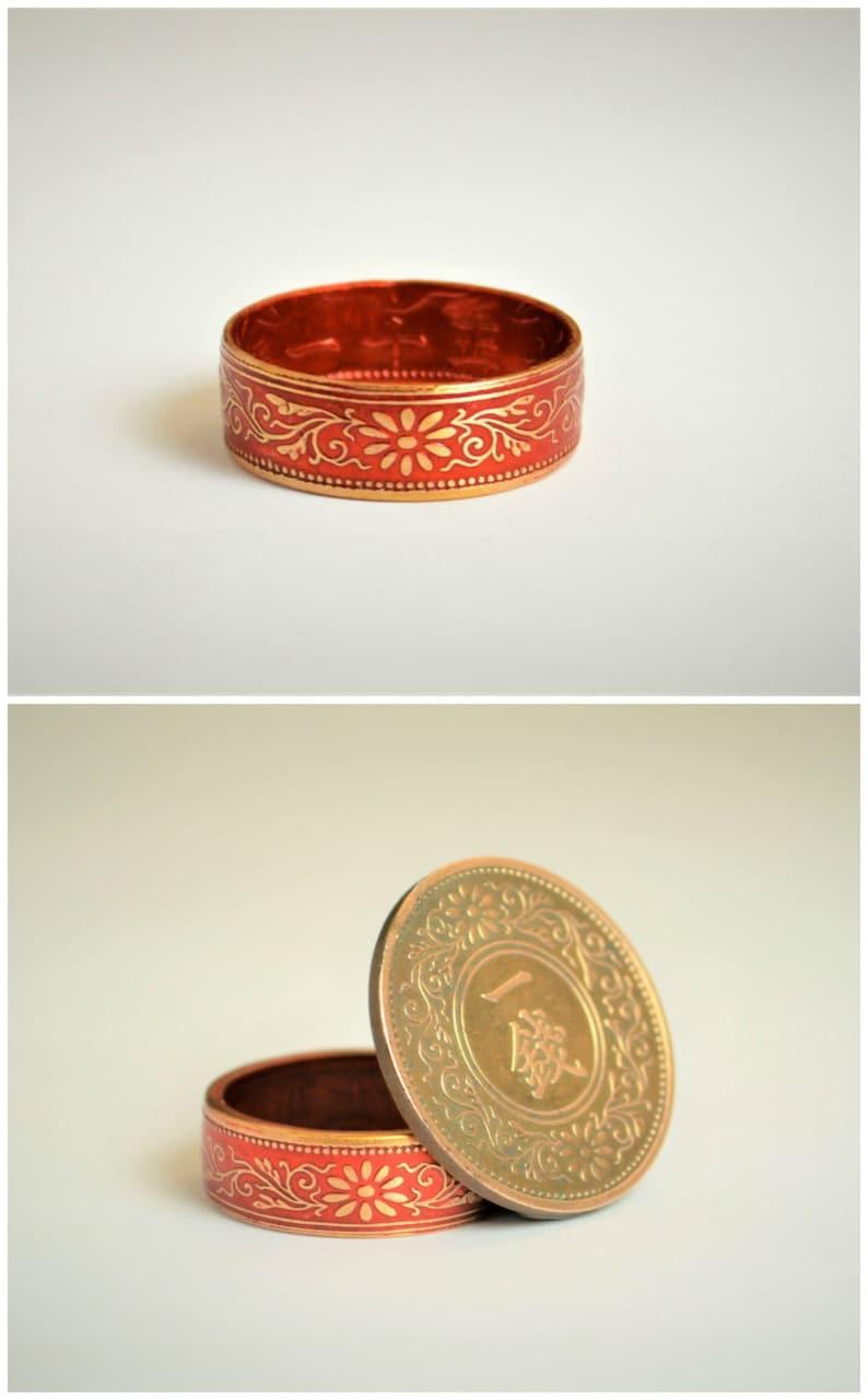 Coin Ring Red Ring Japanese Ring Bronze Ring Japanese image 0