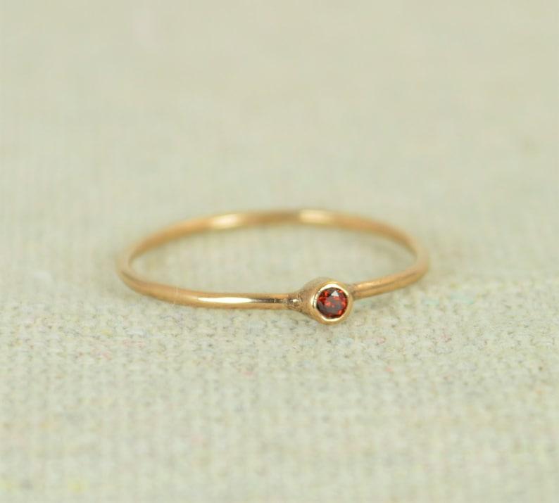 Tiny Garnet Ring Rose Gold Filled Garnet Ring Garnet image 0