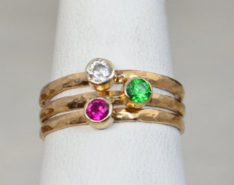 Grab 3 Classic 14k Rose Gold Filled Birthstone Ring, Gold solitaire, solitaire ring, 14k Rose gold filled, Birthstone, Mothers Ring, band