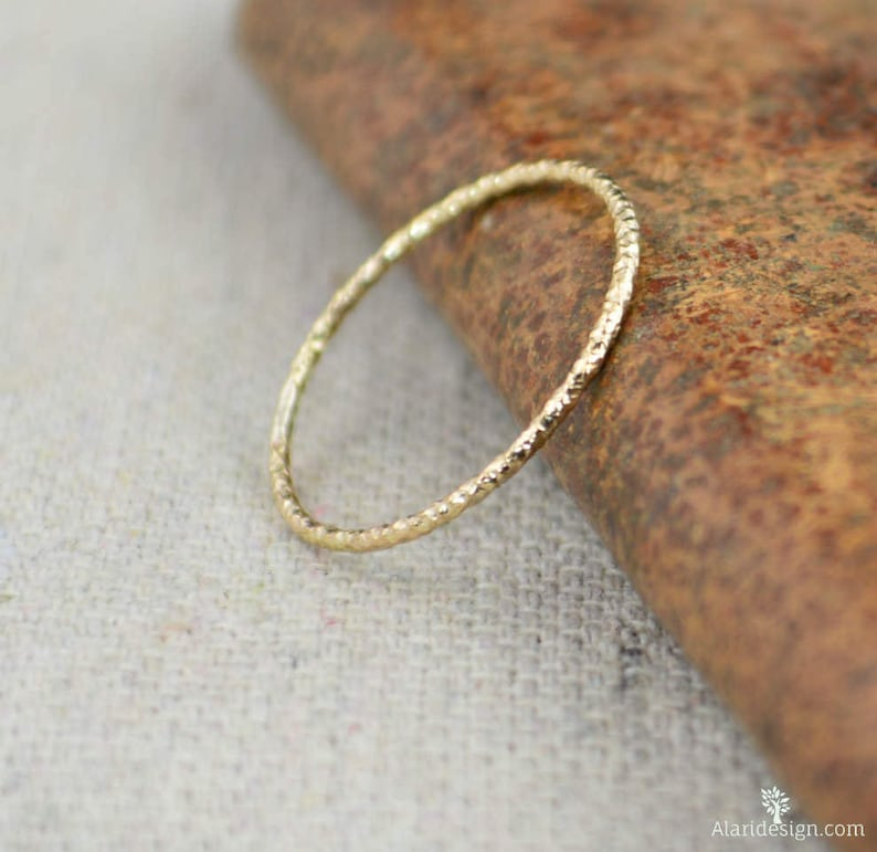 Thin Round Faceted 14k Gold Fill Rings Dainty Gold Ring image 0