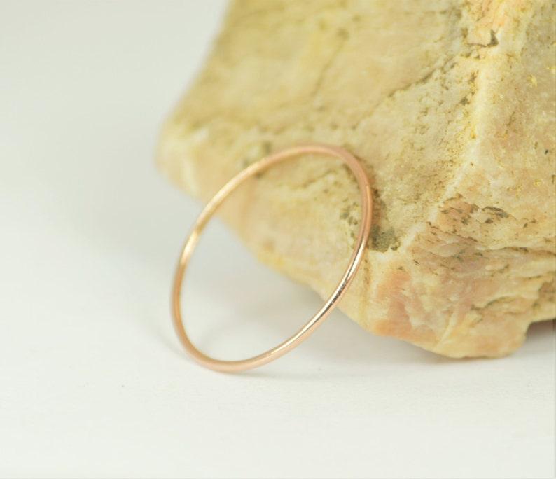 Solid 14k Rose Gold Ring Super Thin Stacking Round Minimal image 0