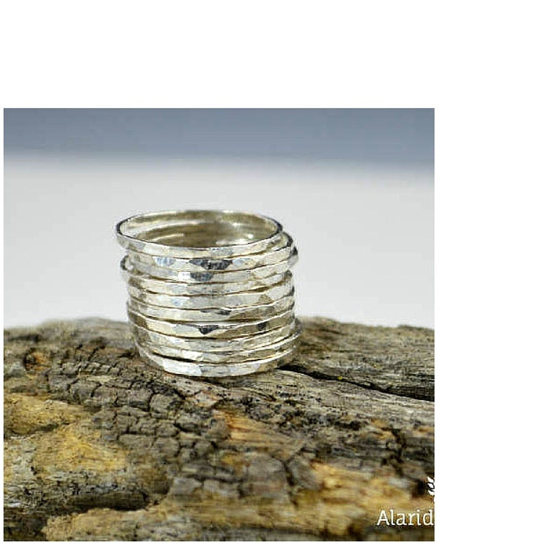 Thin .999 Pure Silver Stackable Rings Stack Rings Stacking image 0