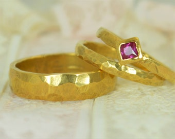 Square Ruby Engagement Ring, 14k Gold, Ruby Wedding Ring Set, Rustic Wedding Ring Set, July Birthstone, Solid Gold, Gold Ruby Ring