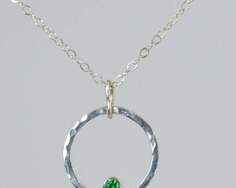 Sterling Silver Emerald Necklace, Mothers Necklace, Mom Necklace, May Birthstone Necklace, Emerald Necklace, Mother's Necklace, Emerald