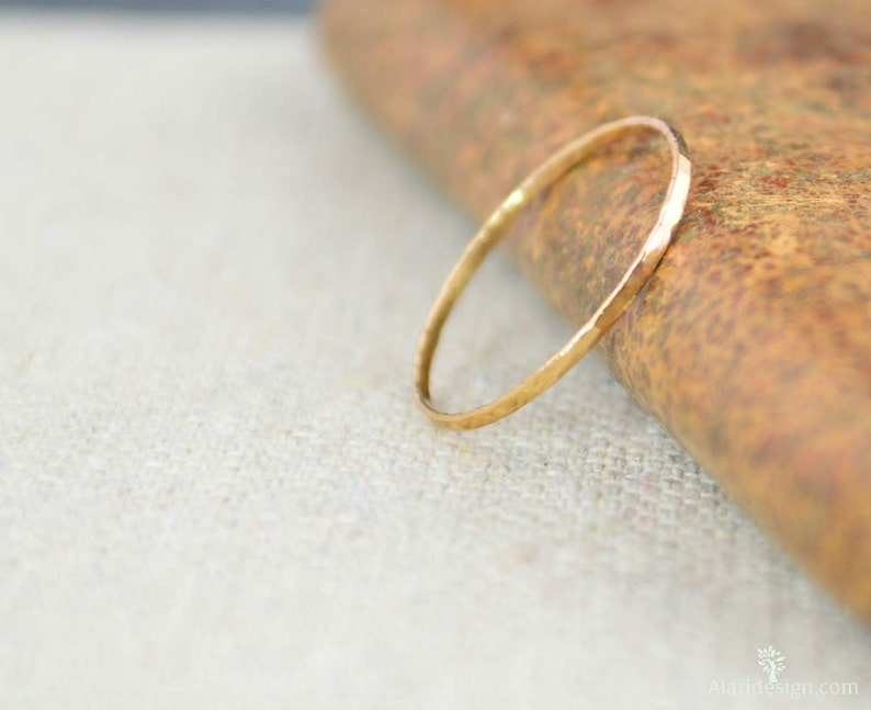 Solid 14K Rose Gold Super Thin Stacking Ring Minimal Gold image 0