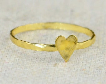 Tiny Gold Heart Ring, Sterling Silver, Gold Heart Ring, Personalized Heart Ring, Initial Ring, BFF Ring, Gold BFF Ring, Heart Ring, Gold