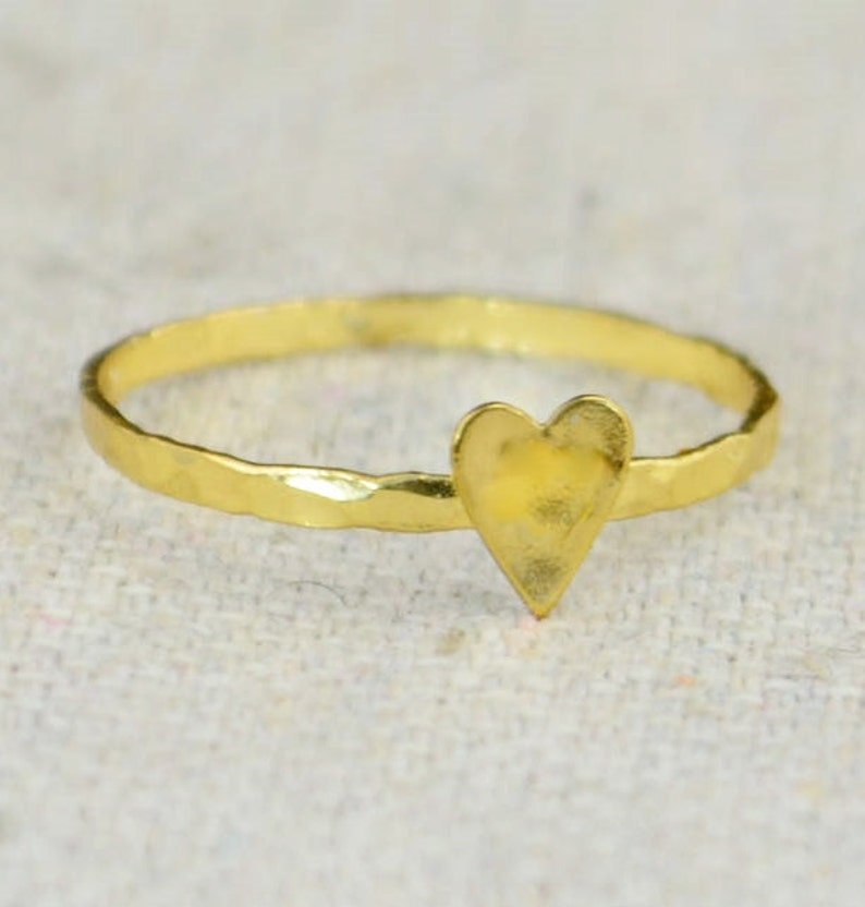 Tiny Gold Heart Ring Sterling Silver Gold Heart Ring image 0