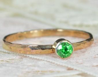 Emerald Engagement Ring, 14k Rose Gold, Emerald Wedding Ring Set, Rustic Wedding Ring Set, May Birthstone, Solid 14k Emerald Ring
