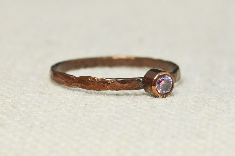 Bronze Copper Pink Tourmaline Ring Classic Size Stackable image 0