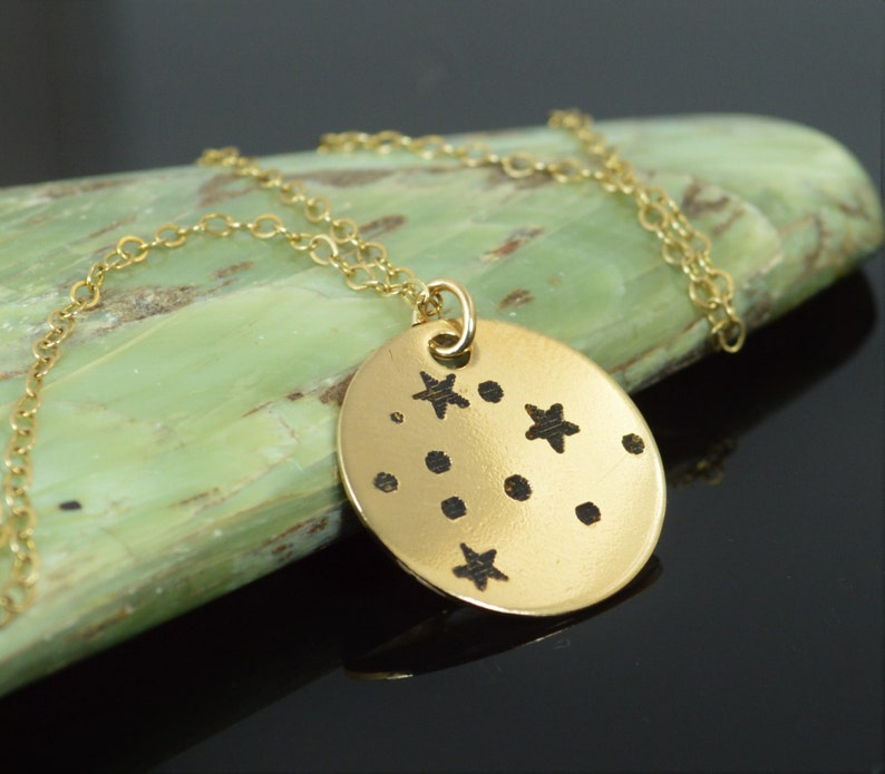 14k Gold Filled Aquarius Necklace Gold Aquarius Necklace image 0