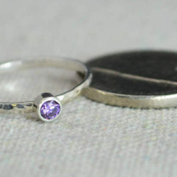 Classic Sterling Silver Amethyst Ring Silver Solitaire image 2