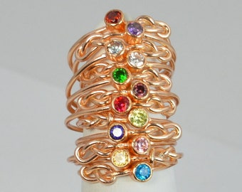14k Rose Gold Filled Infinity Ring, Rose Gold Filled Ring, Stackable Rings, Mothers Ring, Birthstone, Rose Gold Ring, Rose Gold Knot Ring