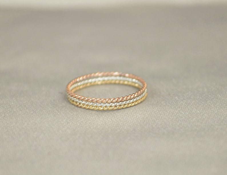 Set of Silver and Yellow and Rose Gold Filled Thin Stacking image 0