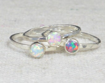 Grab 3 - Small Opal Rings, Opal Ring, Opal Jewelry, Stacking Ring, October Birthstone Ring, Opal Ring,  Mothers Ring