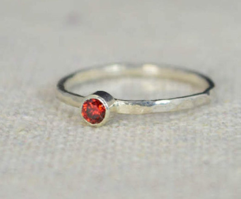 Classic Sterling Silver Garnet Ring 3mm Silver Solitaire Red image 0