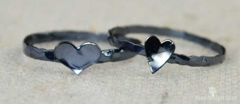 Gunmetal Heart Ring Sterling Silver Stacking Ring image 0