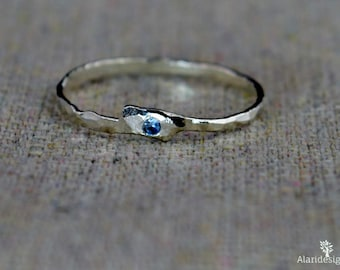 Freeform Blue Zircon Ring, Pure Silver, Stackable Rings, Mothers, Blue Zircon Birthstone Ring, Blue Zircon Mother Ring, Blue Zircon Ring