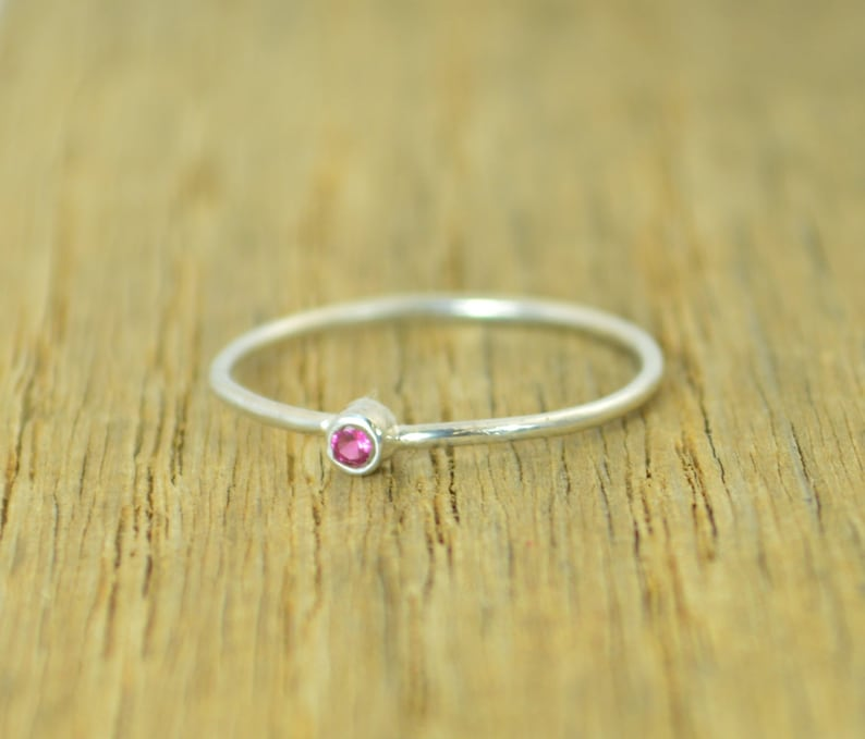 Tiny Ruby Ring Ruby Stacking Ring Silver Ruby Ring Ruby image 0
