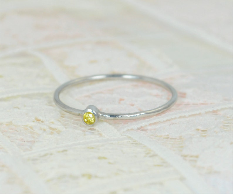 Tiny Citrine Ring Set Solid White Gold Wedding Set Stacking image 1