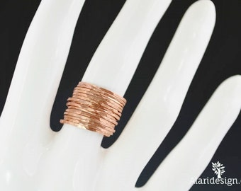 Set of 15 Super Thin Copper Stackable Rings, Stackable Ring, Stacking Rings, Copper Ring, Hammered Rings, Stack Ring, Skinny Ring, Alari