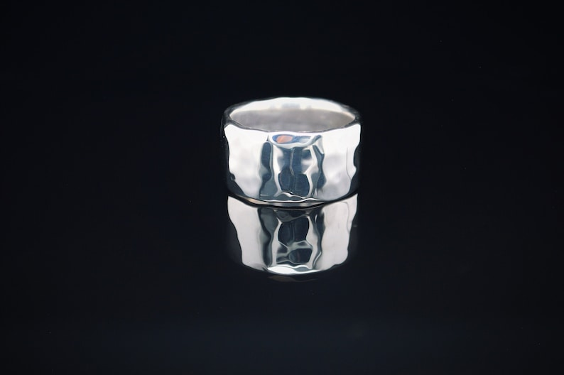 11mm Wide Solid Sterling Silver Hammered Wedding Band Wide image 0