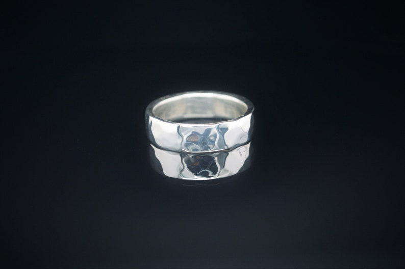 6mm Wide Solid Sterling Silver Hammered Wedding Band Wide image 0