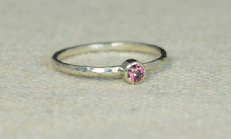 Classic Sterling Silver Alexandrite Ring 3mm Silver image 0