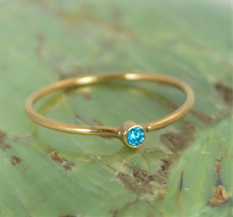 Tiny Blue Zircon Ring Solid 14k Rose Gold Zircon Ring Zircon image 0
