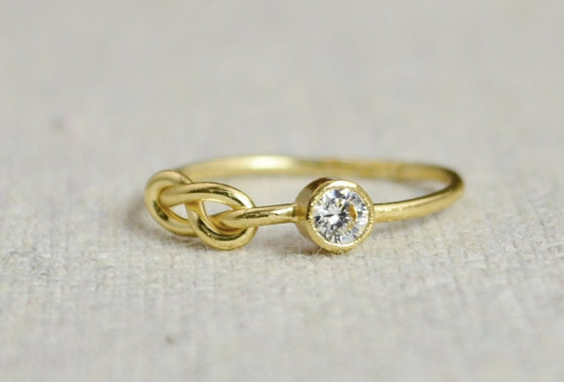 CZ Diamond Infinity Ring Gold Filled Ring Stackable Rings image 0