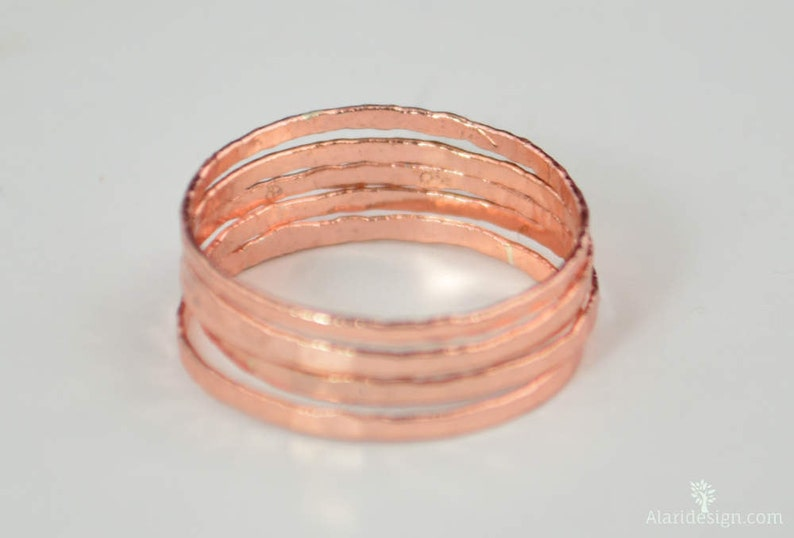 Super Thin Lt. Rose Silver Stackable Rings Pink Jewelry image 0