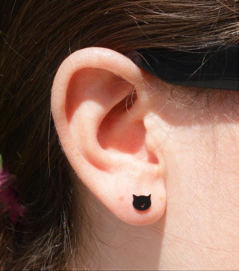 Cat Stud Earrings Black Cat Earrings Nano Ceramic Stud image 0