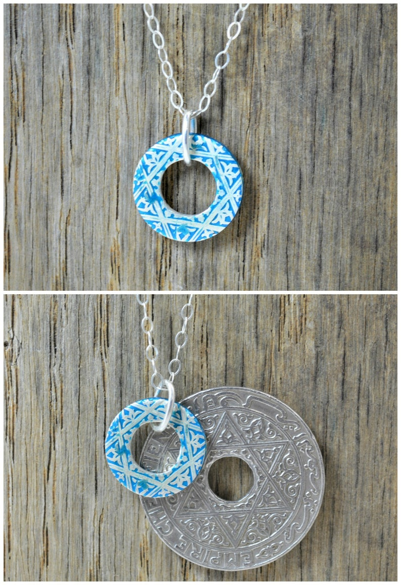 Moroccan Coin Necklace Turquoise Coin Necklace Coin Art image 0