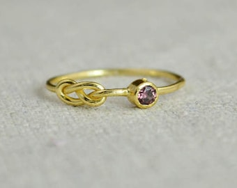 Alexandrite Infinity Ring, Gold Filled Ring, Stackable Rings, Mother's Ring, June Birthstone Ring, Gold Infinity Ring, Gold Knot Ring