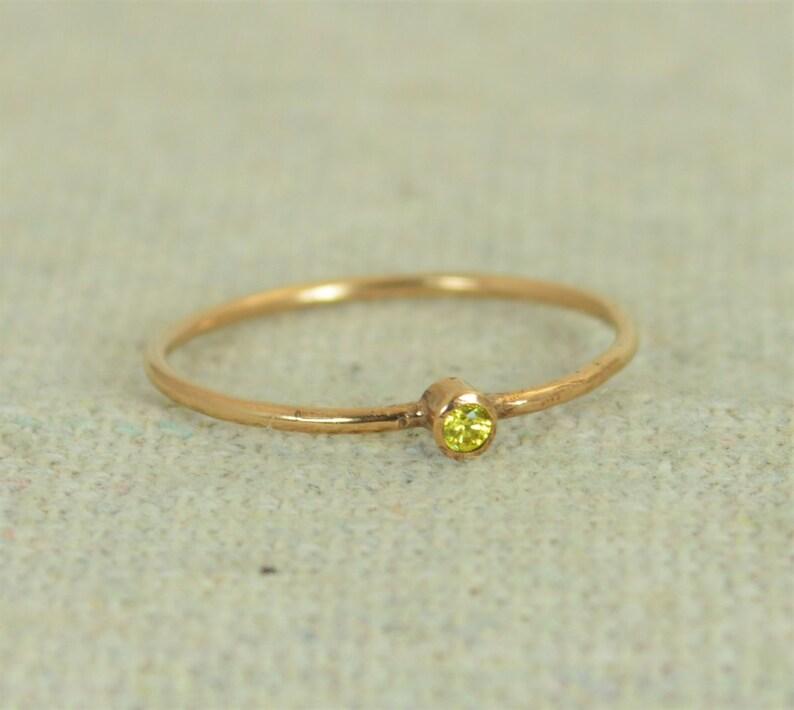 Tiny Rose Gold Filled Topaz Ring Rose Gold Filled Topaz image 0