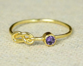 Gold Amethyst Infinity Ring, Gold Filled Ring, Stackable Rings, Mothers Ring, February Birthstone, Gold Infinity Ring, Gold Knot Ring