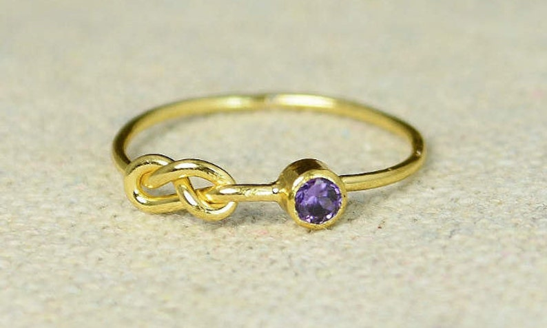 Gold Amethyst Infinity Ring Gold Filled Ring Stackable image 0