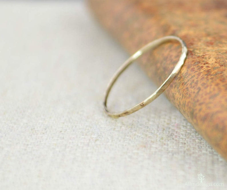 Solid 14k White Gold Super Thin Stacking Ring Minimal Gold image 0