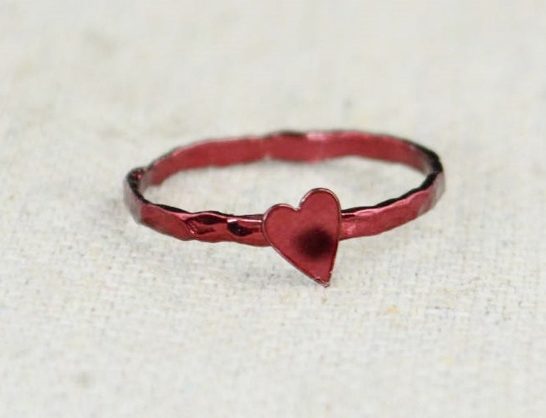 Tiny Red Heart Ring Sterling Silver Valentines Ring image 0