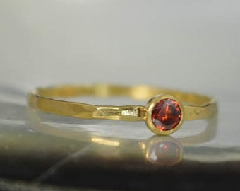 Dainty Solid 14k Gold Garnet Ring, Gold Solitaire, Solitaire Ring, Real Gold, January Birthstone, Mothers Ring, Solid Gold Band, Gold Ring
