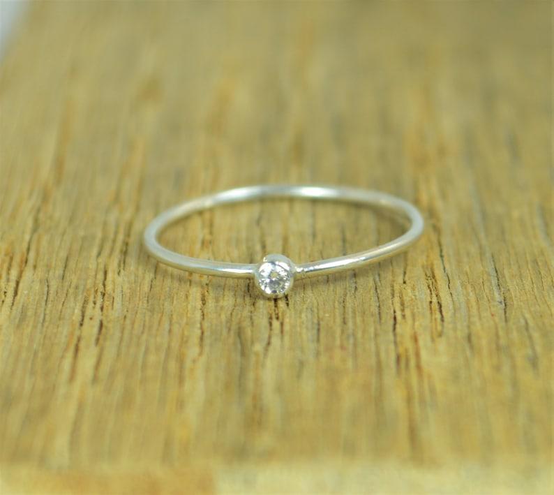 Tiny Diamond Ring White CZ Diamond Diamond Ring Stacking image 0