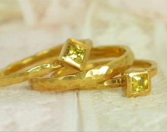 Square Topaz Engagement Ring, 14k Gold Filled, Topaz Wedding Ring Set, Rustic Wedding Ring Set, November Birthstone, Filled Gold, Topaz Ring