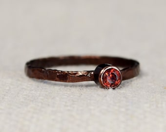Bronze Copper Garnet Ring, Classic Size, Stackable Rings, Mother's Ring, January Birthstone, Copper Jewelry, Garnet Ring, Pure Copper Band