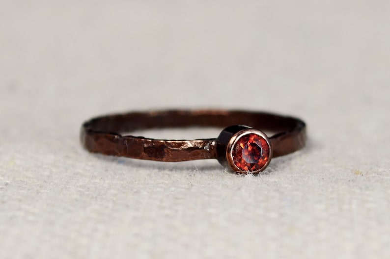 Bronze Copper Garnet Ring Classic Size Stackable Rings image 0
