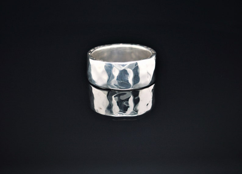 9mm Wide Solid Sterling Silver Hammered Wedding Band Wide image 0