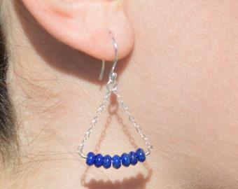Lapis Lazuli Earrings, Delicate Earrings, Gold Earrings, Sterling Earrings, Rose Earrings, Copper, Dangle Earrings, Gemstone, Blue Earrings