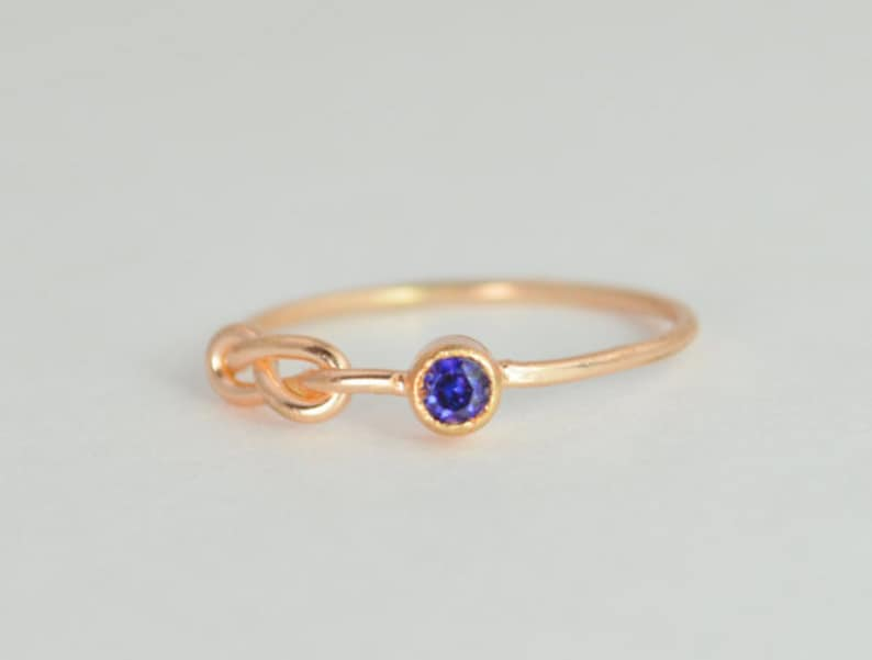 14k Rose Gold Sapphire Infinity Ring 14k Rose Gold Stackable image 0