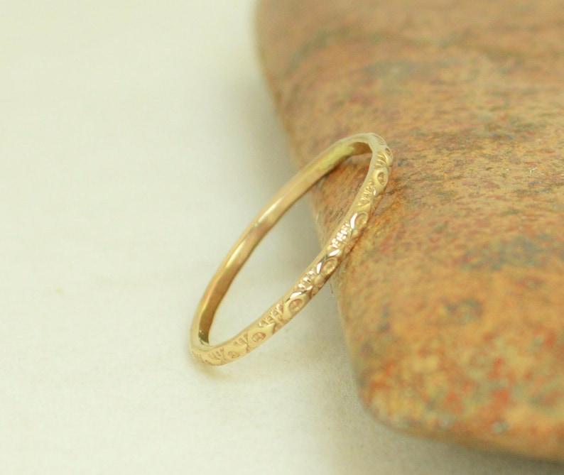 14k Gold Bohemian Ring Rustic Wedding Ring Heirloom Quality image 0