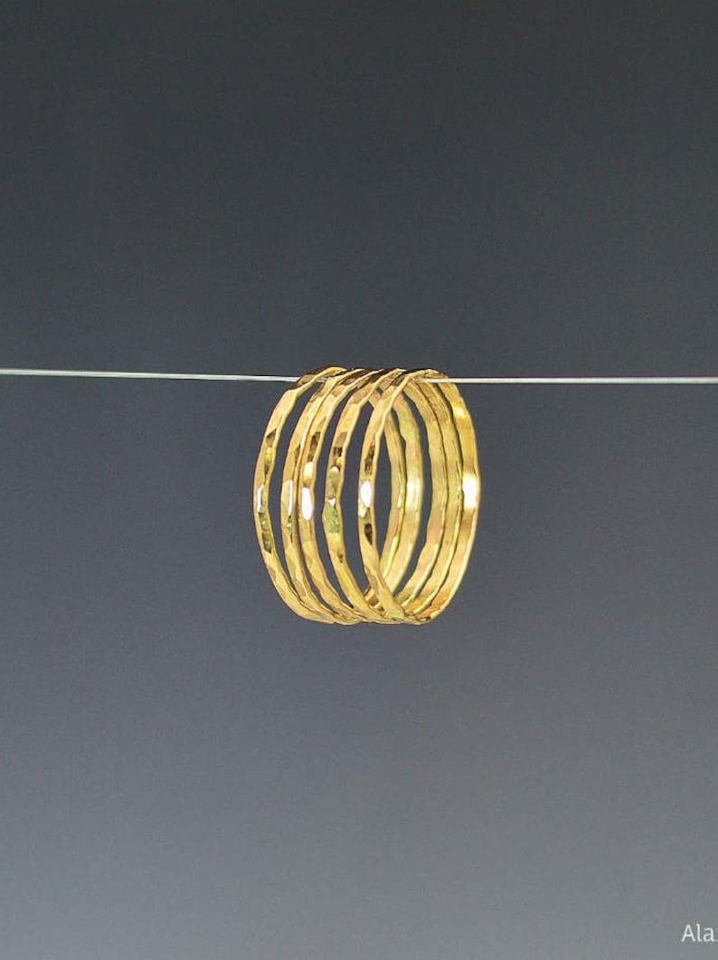 Set of 5 Super Thin 14k Gold Stackable Rings 14k Gold Filled image 0