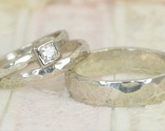 Square CZ Diamond Engagement Ring,14k White Gold, Diamond Wedding Ring Set, Rustic Wedding Ring Set, April Birthstone, Solid Gold